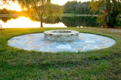 Mortared firepit with dry-laid flagstone patio