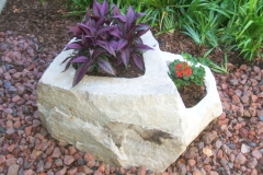 Quartzite stone carved planter