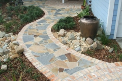 Mortared brick and stone entrance path
