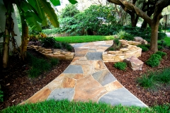 Flagstone Path with Dry-Stack Retaining Wall