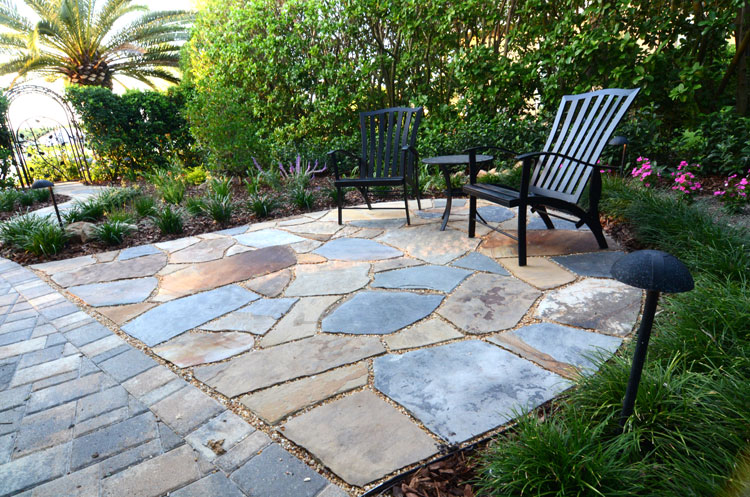 Dry Laid Flagstone Patio In Garden