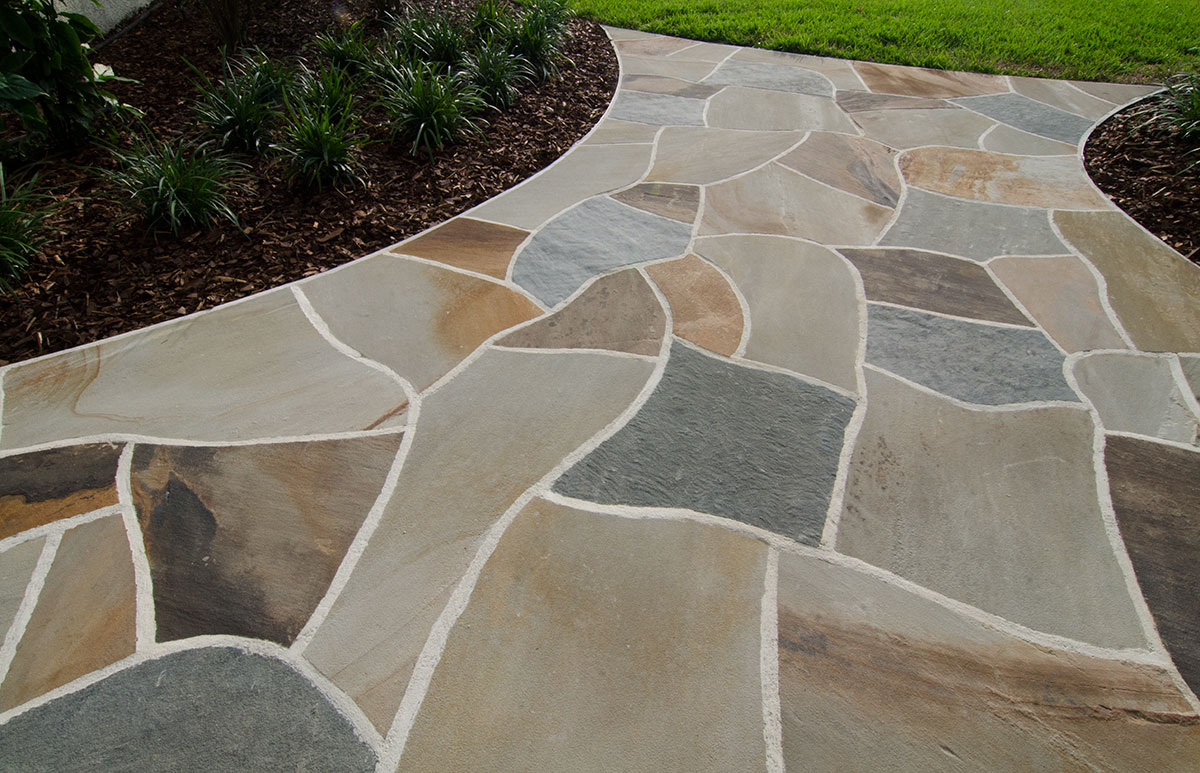 Dry-laid flagstone patio with mortared joints - Patios, Sitting Areas, Stone Patios, Outdoor Sitting Areas - Tampa, FL