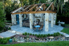 Mortared blue stone patio area